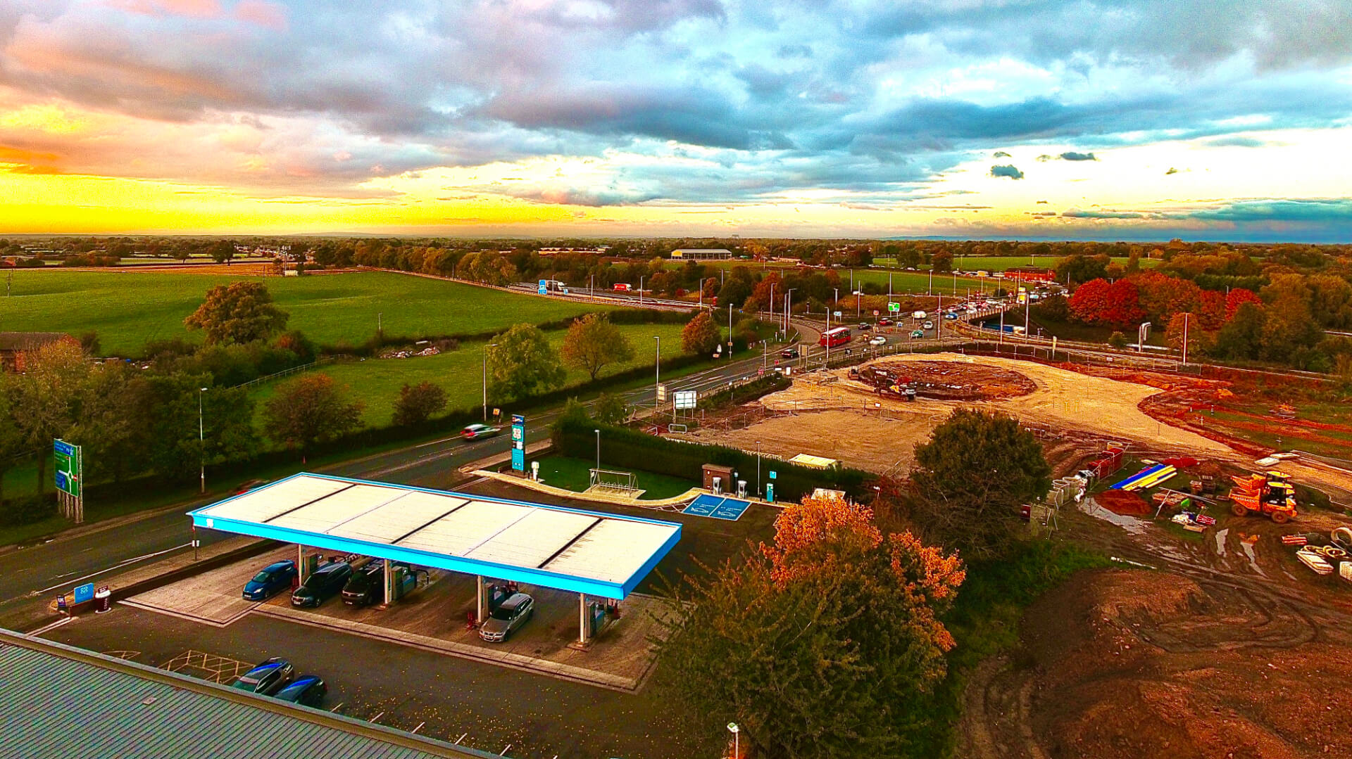 Junction 17, M6 Sandbach, drone site photograph