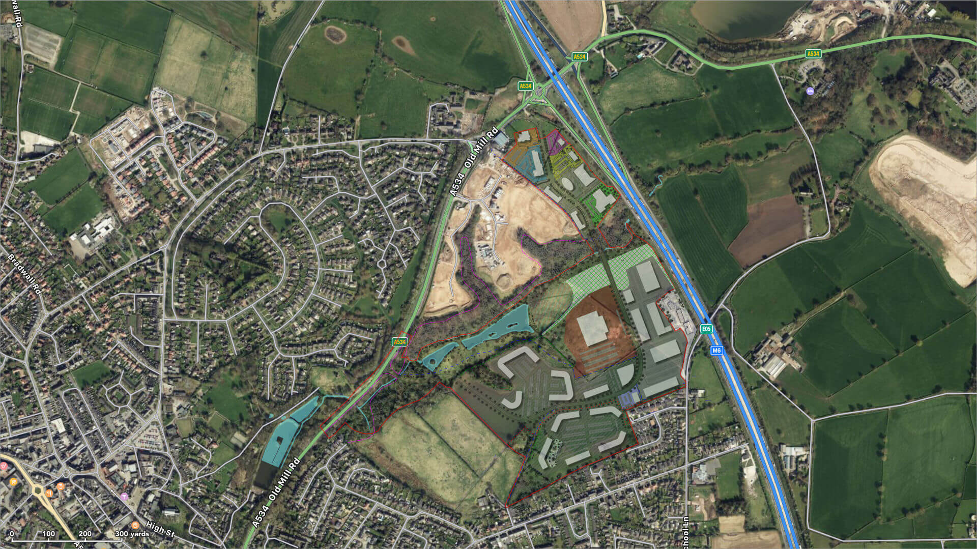 Junction 17, M6 Sandbach, satellite masterplan